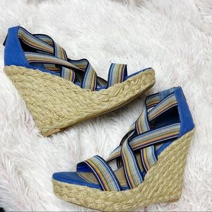 "Aldo stretch espadrille sandal wedges 5"" heel 10"